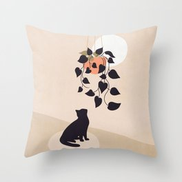 Hanging out with you forever - Cat, Plant and Moon Throw Pillow