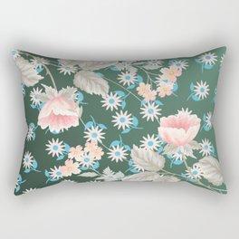 Green Flowers Pattern Rectangular Pillow
