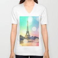 paris V-neck T-shirts featuring Paris. by Whimsy Romance & Fun