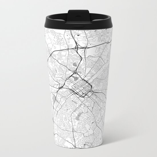 Charlotte Map Gray Metal Travel Mug