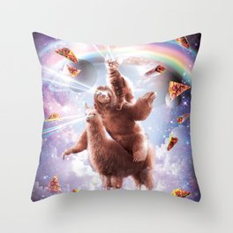 Laser Eyes Space Cat Riding Sloth, Llama - Rainbow Throw Pillow