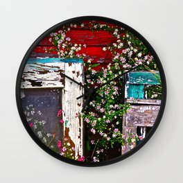 Window Flowers Wall Clock