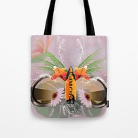 surfboard Tote Bags featuring Surfing, sunglasses with surfboard  by nicky2342
