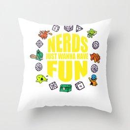 Nerdy geek fun RPG Gamer Dragon funny gift Throw Pillow