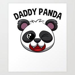 Daddy Panda Pandas Dad Men Adult Black White Bear Art Print