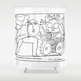 Pablo Picasso, La Paix Combattante Fera Reculer Le Char de Guerre, Artwork, Prints, Posters, Tshirts Shower Curtain