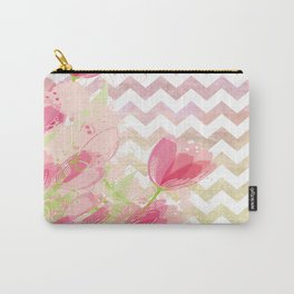 Chevron Tulips Carry-All Pouch