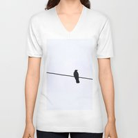 norway V-neck T-shirts featuring Raven // Norway by Memento Mori Studio