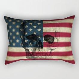 U.S. Flag Skull Rectangular Pillow