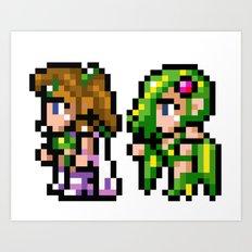 Final Fantasy II - Rosa and Rydia Art Print