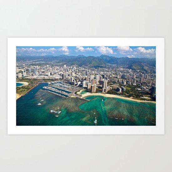 Aerial View of Waikiki Beach Art Print