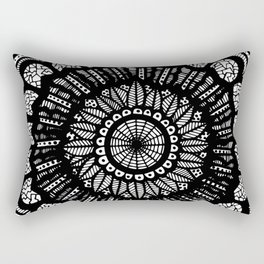 Black and White Freehand Drawing Mandala Design Rectangular Pillow