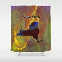 new york map Shower Curtains featuring New York Map by Roger Wedegis