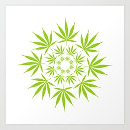 Cannabis Leaf Circle (White) Art Print