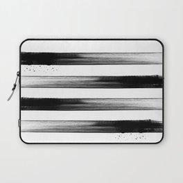 Japanese calligraphy stroke stripe -Zen style, black and white Laptop Sleeve