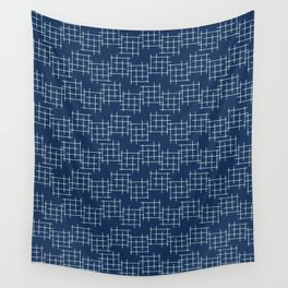 Indigo Blue Japanese Style Stitch Lines Wall Tapestry