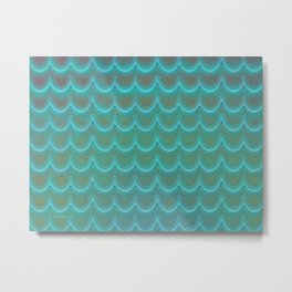 Mermaid Scales Blue Green Wave Metal Print