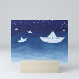 Paper boats illustration Mini Art Print