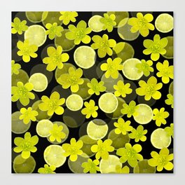 Lime and flowers on black Canvas Print