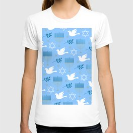 Hanukkah Star Of David, Menorah & Dove Pattern T-shirt