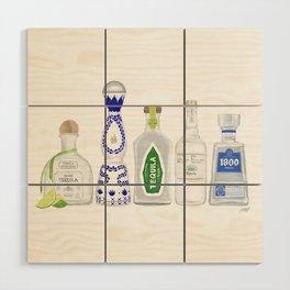 Tequila Bottles Illustration Wood Wall Art