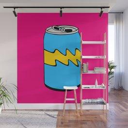 Pink Yellow & Blue Cartoon Soda Can Colourful Simple Art Wall Mural