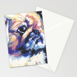 Fun Pekingese Dog Portrait bright colorful Pop Art Stationery Cards