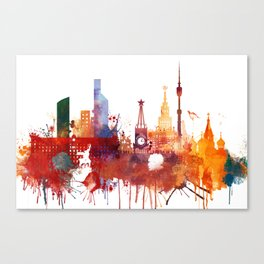 Moscow Watercolor Skyline Canvas Print