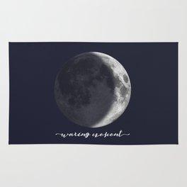 Waxing Crescent Moon on Navy - English Rug