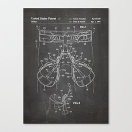 Rock Climbing Harness Patent - Rock Climber Art - Black Chalkboard Canvas Print