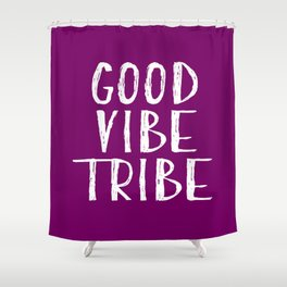 Good Vibe Tribe - Purple and White Shower Curtain