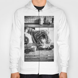 First I Drink the Coffee, Then I do the Stuff - hangover black and white photograph / photography Hoody