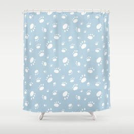 Soft Blue Paw Prints Shower Curtain