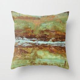Blue Green Stream Throw Pillow