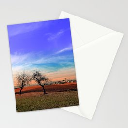 Trees, sunset, clouds, panorama and village | landscape photography Stationery Cards