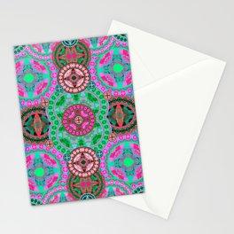 Uplifting Refreshing Mega Mandala in Pink and Green Stationery Cards