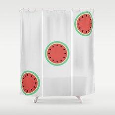 Watermelon Clock Triptych Shower Curtain