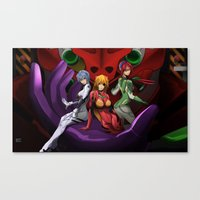 evangelion Canvas Prints featuring Evangelion Girls by Esteban Barrientos