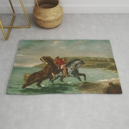 """Eugène Delacroix """"Horses Coming Out of the Sea"""" Rug"""