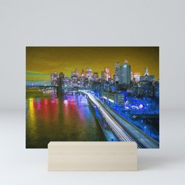New York City Lights Gold Mini Art Print