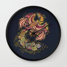 Watercolor Phoenix bird Wall Clock