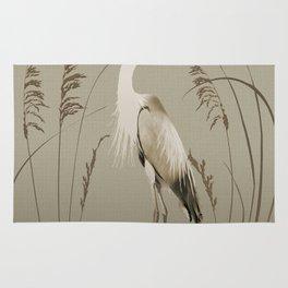 Heron and Lotus Flowers Rug