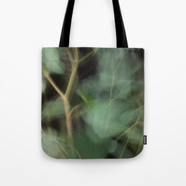 Abstract Eucalyptus Leaves on Black Background-Fleur Blur Series Tote Bag