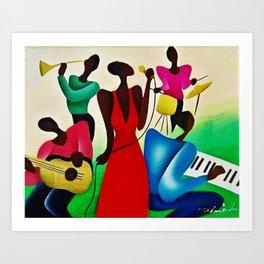 African American Masterpiece 'Bourbon Street New Orleans Jazz' by Fred Blassingham Art Print