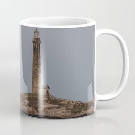 Blue Flower moon over Thatchers North tower Lighthouse Coffee Mug