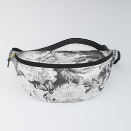 Black gray modern watercolor roses floral pattern Fanny Pack