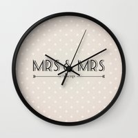 lesbian Wall Clocks featuring Mrs & Mrs (lesbian content) by Jane Mathieu