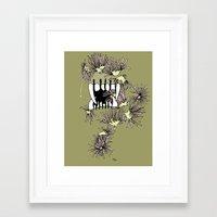 rooster teeth Framed Art Prints featuring teeth by Wyldbloom