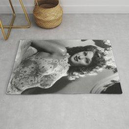 Rita Hayworth, Hollywood Starlet black and white photograph / black and white photography Rug