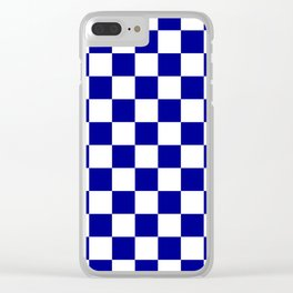 Checkered - White and Dark Blue Clear iPhone Case